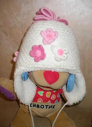 Зимняя шапка на овчине на девочку 2-4лет.