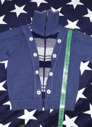 Теплая кофта, свитер на мальчика на 9-18 мес, рост 74-86 см