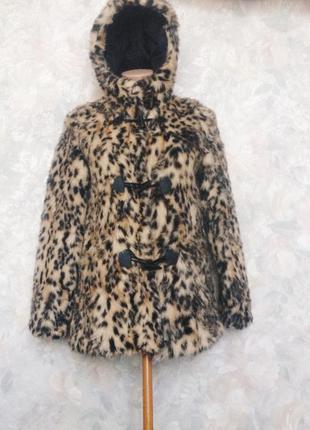 Леопардовая шубка из искусственного меха с капюшоном