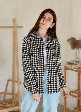 Куртка-рубашка на пуговицах с принтом гусиная лапка
