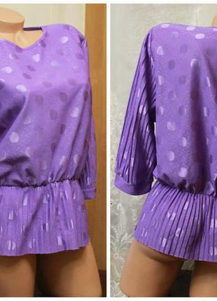 Блуза в горошек,с баской,рукав3/4,ретро,р.xl-xxl3 фото