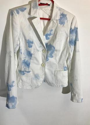 Женский пиджак betty barcley ( бетти барклей хс-срр идеал оригинал бело-голубой)