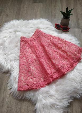 Розовая кружевная юбка-солнце 😍