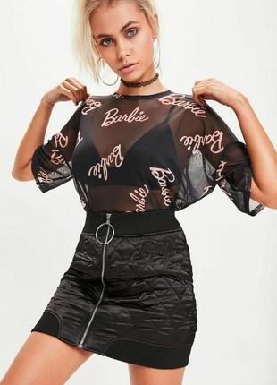 Стеганная мини юбка с молнией по всей длине барби barbie missguided