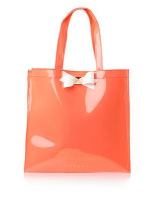 Эффектная пляжная силиконовая сумка, персиково оранжевая, оригинал ted baker