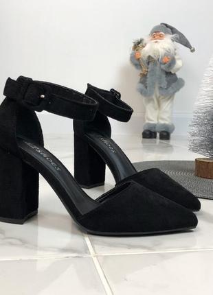 Открытые туфли с ремешком из экозамши2 фото