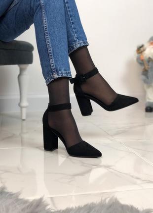 Открытые туфли с ремешком из экозамши5 фото