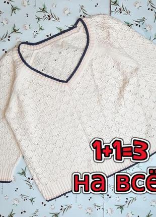 🎁1+1=3 нежный женский ажурный свитер свитерок реглан айвори new look, размер 50 - 52