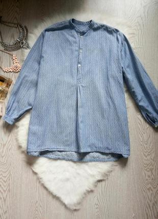 Голубая плотная рубашка с длинным рукавом туника без воротника вышиванка под джинс батал