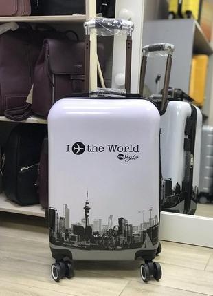 Уценка! пластиковый чемодан для ручной клади белый с принтом i love the world