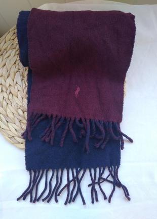 Шарф бордовый темно-синий ralph lauren