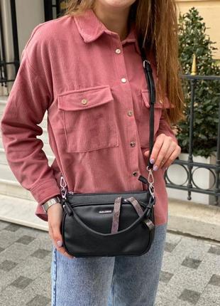 Женская сумка на через плечо кросс-боди velina fabbiano чёрная жіноча сумка чорна