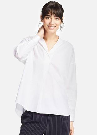 Белая рубашка  из 100% premium extra-fine cotton uniqlo