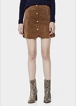 Замшевая кожаная юбка цвет кэмел с пуговицами