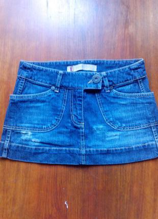Мини юбка джинс