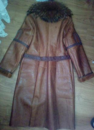 Пальто veronni из натуральной кожи