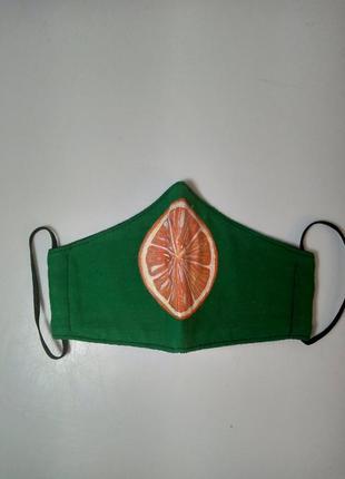 Маска апельсин ручной работы из хб ткани