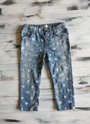 Мягкие джинсы с сердечками 98 на 2-3 года