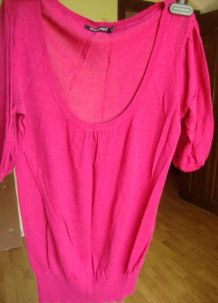 Розовая трикотажная блузка-футболка