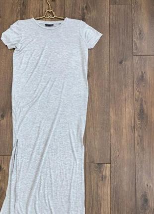Стильное серое длинное платье футболка с разрезами хс-с,42-44