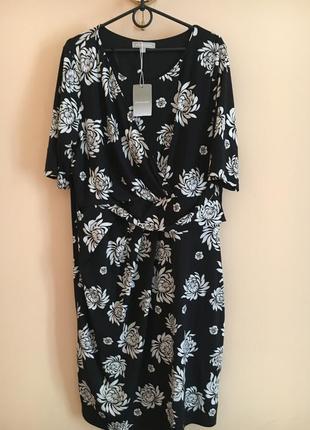 Батал большой размер новое стильное платье платьице плаття миди чёрное