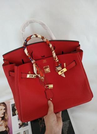 Женская кожаная красная сумка в стиле hermes birkin❣️