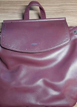 Бордовая сумка - рюкзак
