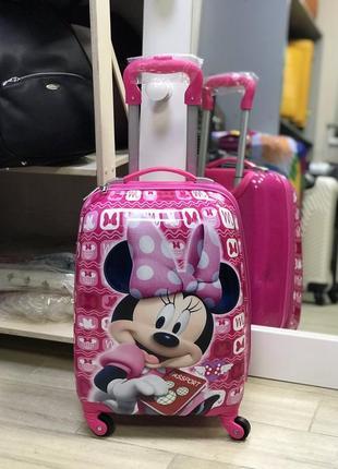 Уценка! детский пластиковый чемодан розовый с микки маусом