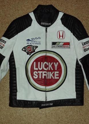 Винтажная кожаная куртка lucky strike honda racing