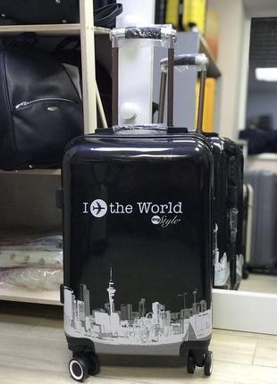 Уценка! пластикой чемодан для ручной клади с принтом i love the world