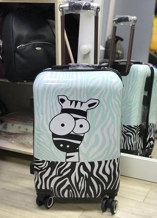 Уценка! принтованный чемодан из пластика с принтом зебра
