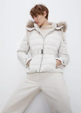 Новый очень теплый zara пуховик s m зимняя куртка zara s m 44 46