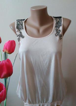 Пудрова блуза топ майка з камінчиками