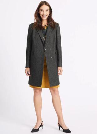 Пальто прямого кроя отложным воротником на кнопках с карманами на змейке спереди m&s