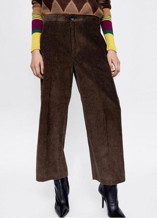 Вельветові штани кюлоти, від zara, висока посадка, прямий крій, колір шоколад! нові!