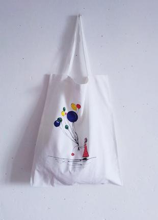 Эко-сумка из ткани ручная работа ручная роспись