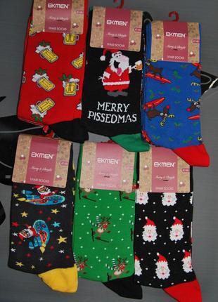 Мужские новогодние носки 41-46 турция дед мороз олень эль веселые принты