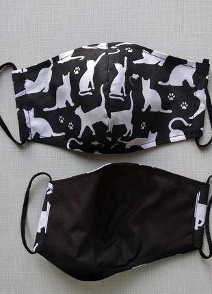 Женская черная маска с кошками2 фото