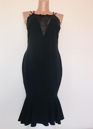Роскошное брендовое вечернее платье миди с воланом и красивыми декольте/спинкой💣