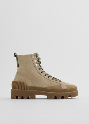 Ботинки канвас на шнуровке zara оригинал кожаные замшевые натуральная
