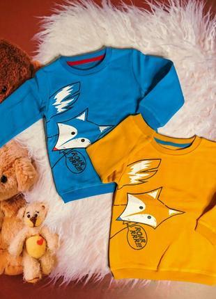 Свитшот name it  оранжевий синий лисёнок набор красочный яркий для мальчика 86 92