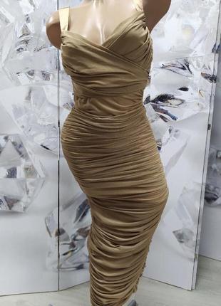 Платье сетка сборки запах драпировка миди