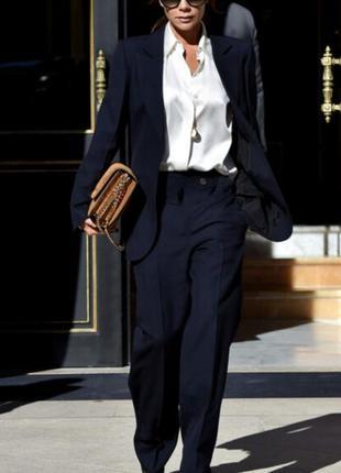Шерстяные широкие  темно синие брюки  ❄❄❄ в стиле виктории бекхем 🔥🔥🔥