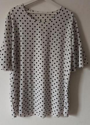 Классная актуальная футболка блуза рукав рюши в горох горошек оверсайз