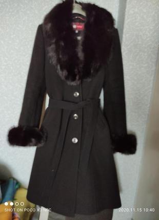 Пальто кашемир с натуральным мехом