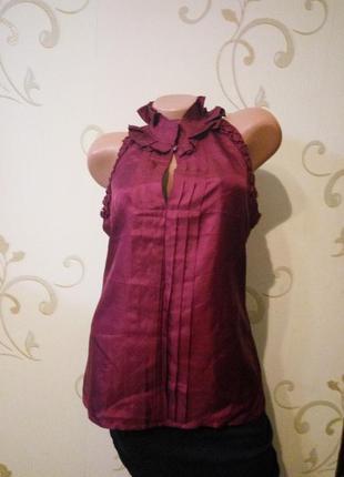 Оригинальная безрукавка маечка топ блузка без рукавов 100% натуральный шелк.