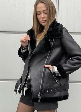 Дублёнка авиатор тёплая зима куртка курточка