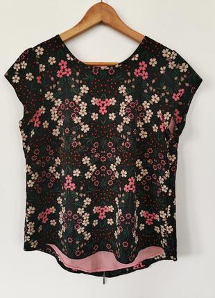 Красивая блуза, футболка с цветочный принт с замочком за спине dorothy perkins🔥
