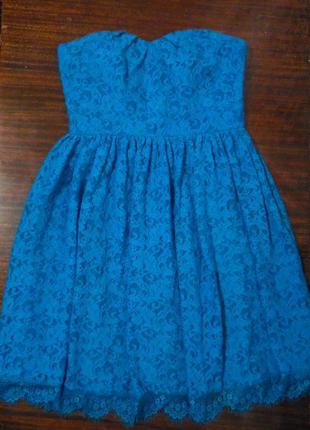 Бирюзовое кружевное платье бюстье от coast