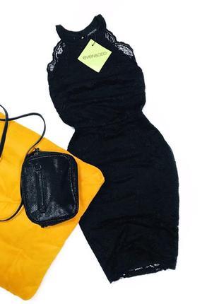 Кружевное гипюровое платье черное нарядное вечернее